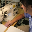 Fabric Table Drape Being Stitched