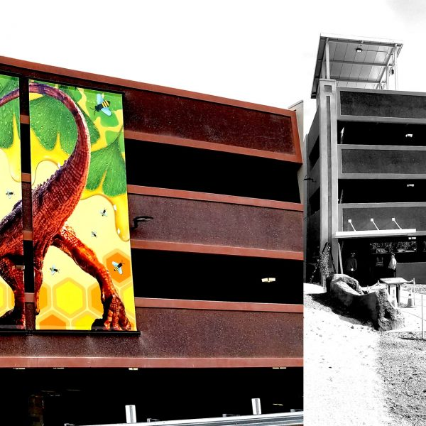City of Greenfield parking garage after and before