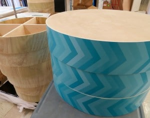 Adhesive Vinyl wrap around wooden circular platforms for a retail co. Printed by ICL Imaging