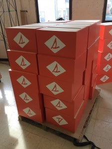 Retail Display Boxes created for Sperry and wrapped with adhesive vinyl