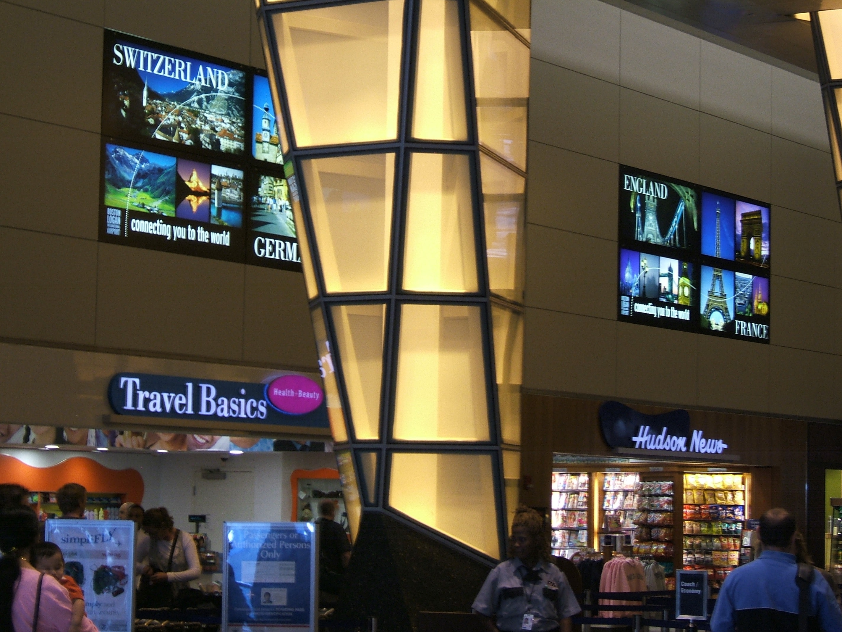Backlit Graphics inside Light Boxes at Logan Airport by ICL Imaging