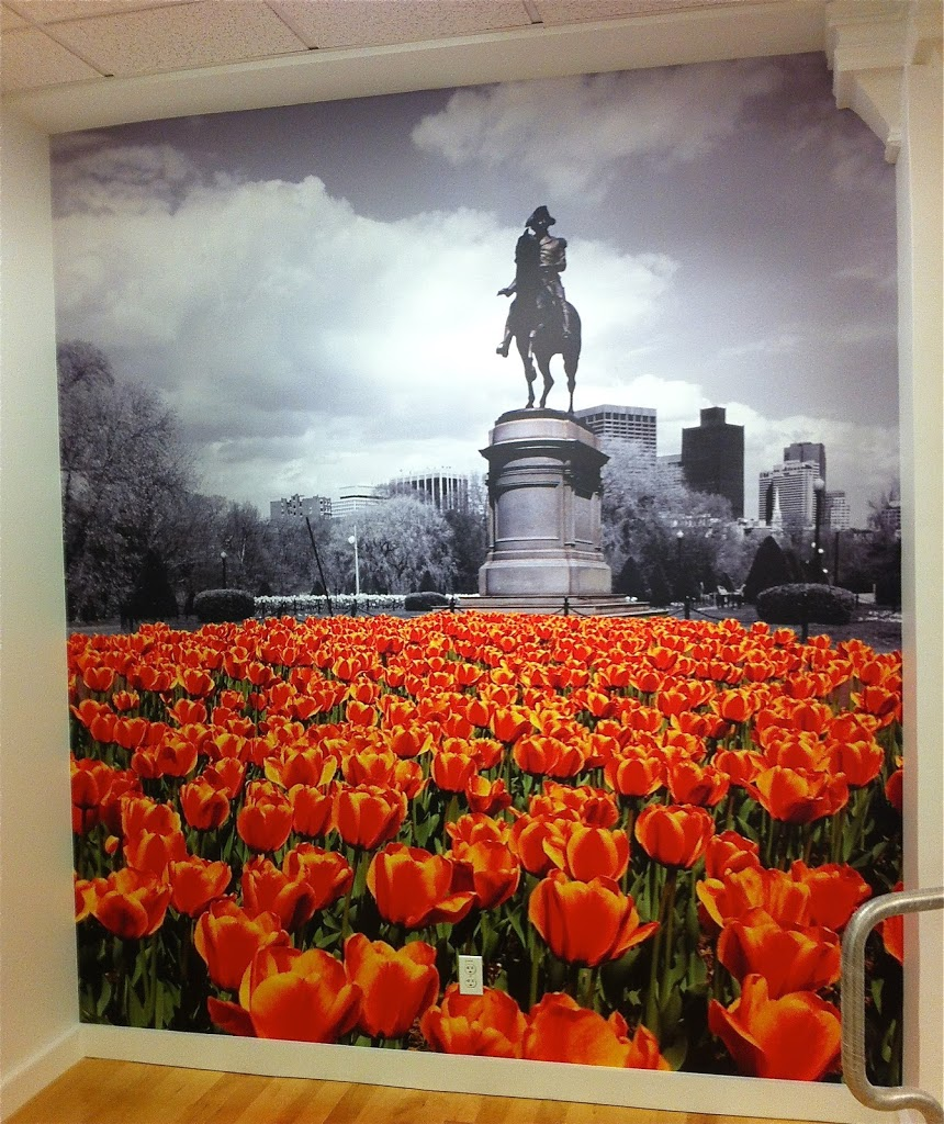 Custom Wallpaper Mural Boston, statue of George Washington in the Boston Common, red tulips in the foreground
