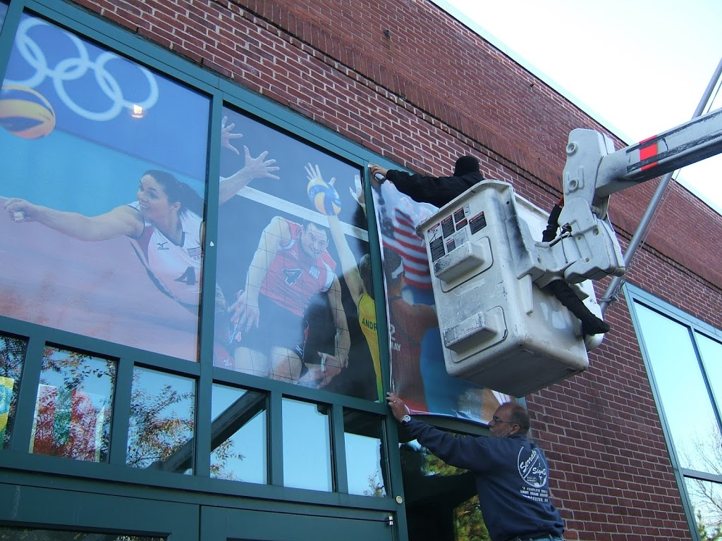 Window Graphics - Installation & Removal for Volleyball Hall of fame. Printed by ICL Imaging, Large Format Printers, Framingham, MA, near Boston