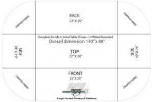 Design Template for Fabric Table Covers. Use this template to layout a design to create; table drapes, table throws and table covers.